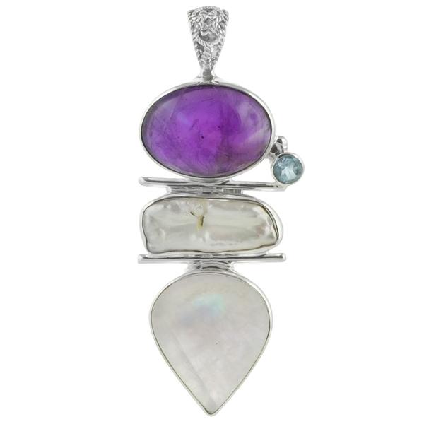 Сребърен медальон с аметист, лунен камък, син топаз и бива перла