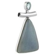 Сребърен медальон с триъгълен ангелит и син топаз