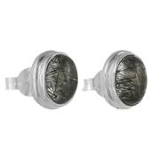 Овални сребърни обеци с турмалинов кварц на винт
