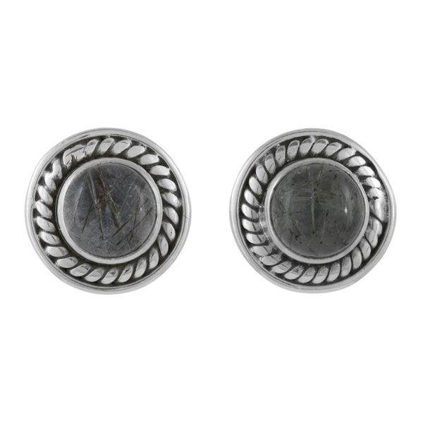 Сребърни обеци с турмалинов кварц на винт
