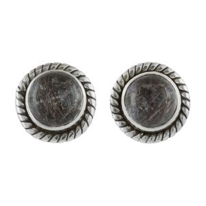 Малки сребърни обеци с турмалинов кварц на винт