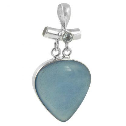 Сребърен медальон със син халцедон и син топаз