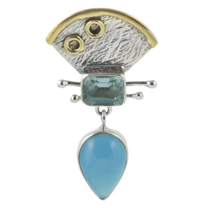 Сребърен медальон със син топаз и халцедон