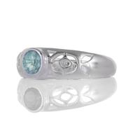 Сребърен пръстен с фасетиран син топаз