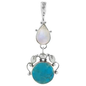 Сребърен медальон с тюркоаз, лунен камък и перли
