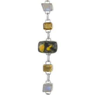Масивна сребърна гривна с бъмбълби яспис, цитрин и лунен камък