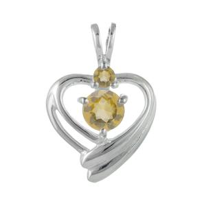 Нежна сребърна висулка-сърце с фасетирани цитрини