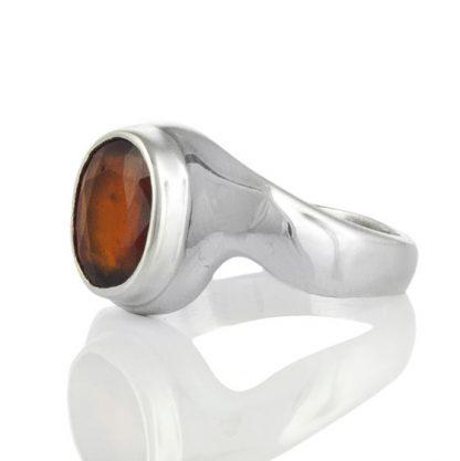Сребърен пръстен с хесонит гранат