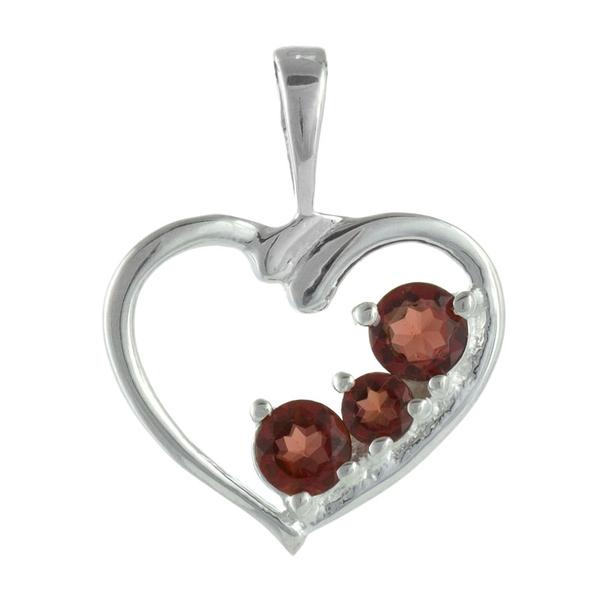 Нежна сребърна висулка-сърце с гранати