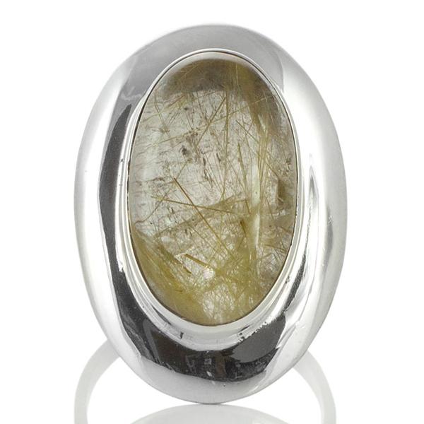 Едър сребърен пръстен с рутилов кварц (Косите на Венера)