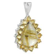 Сребърен медальон с рутилов кварц (Косите на Венера) и фасетирани цитрини