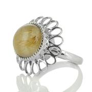 Сребърен пръстен с кабошон рутилов кварц (Косите на Венера)