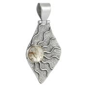 Сребърен медальон с кабошон рутилов кварц (Косите на Венера)