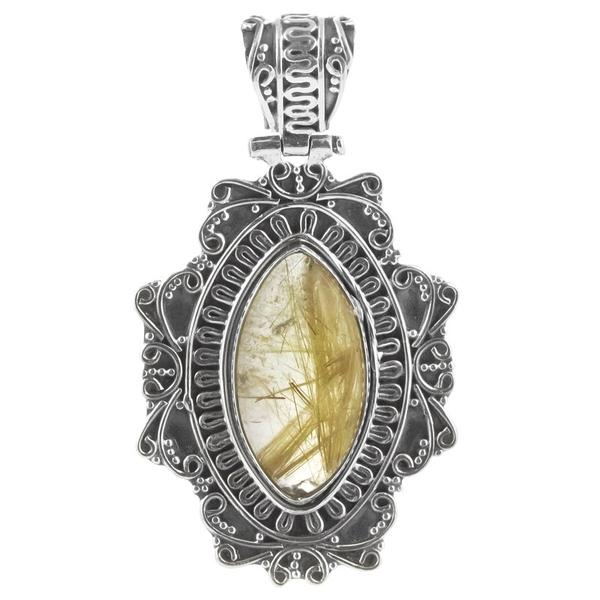 Медальон с рутилов кварц в орнаментиран сребърен обков