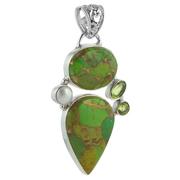 Сребърен медальон със зелен меден тюркоаз, перидоти и перла