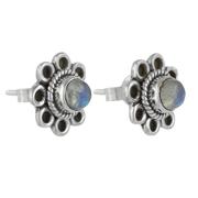 Сребърни обеци с лунен камък на винт