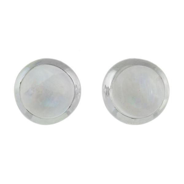 Малки сребърни обеци с лунен камък на винт