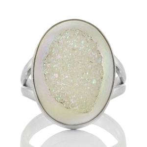 Сребърен пръстен с ахатова друза с перлено покритие
