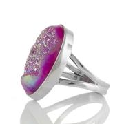 Сребърен пръстен с овална розова друза ахат