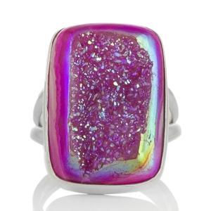 Сребърен пръстен с розова друза ахат