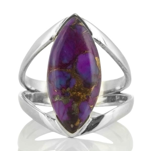 Сребърен пръстен с лилав меден тюркоаз