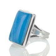 Сребърен пръстен с правоъгълен смитсонит