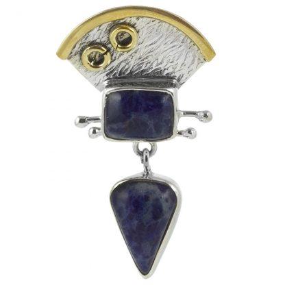 Сребърен медальон със содалит