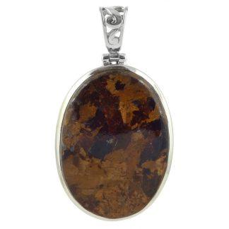 Сребърен медальон с овален бронзит