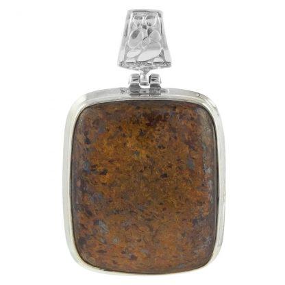 Сребърен медальон с кабошон бронзит
