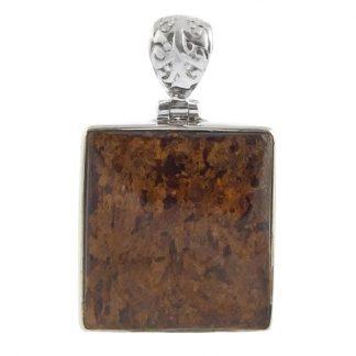 Правоъгълен сребърен медальон с бронзит