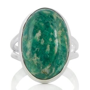 Сребърен пръстен с овален амазонит