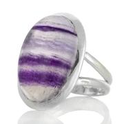 Сребърен пръстен с овален многоцветен флуорит