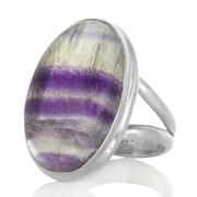 Сребърен пръстен с многоцветен флуорит