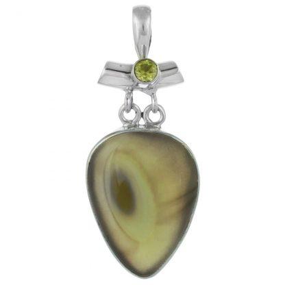 Сребърен медальон с имперски яспис и перидот