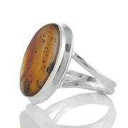 Сребърен пръстен с овален монтана ахат (САЩ)