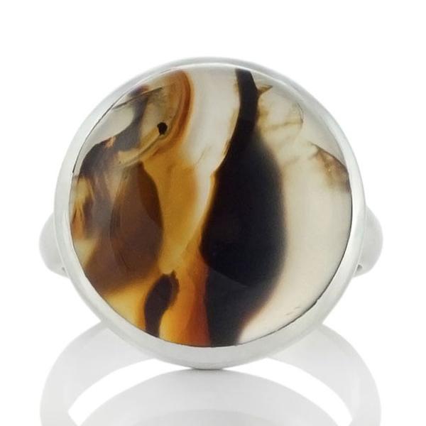 Сребърен пръстен с монтана ахат (САЩ)