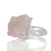 Сребърен пръстен с необработен морганит