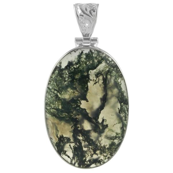 Сребърен медальон с овален мъхов ахат