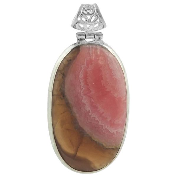 Сребърен медальон с овален родохрозит