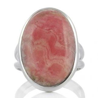 Сребърен пръстен с овален родохрозит