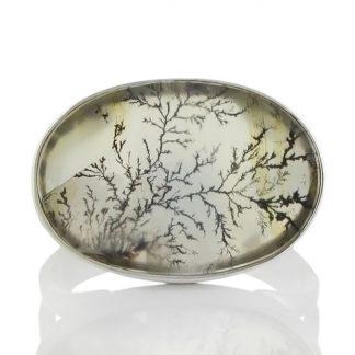 Сребърен пръстен с пейзажен дендро ахат