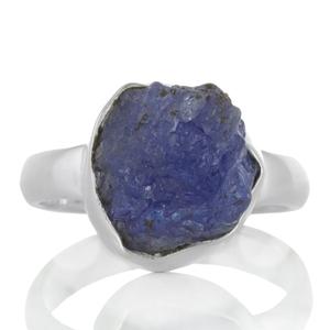 Сребърен пръстен с необработен танзанит