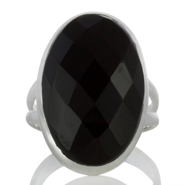 Сребърен пръстен с едър фасетиран черен оникс