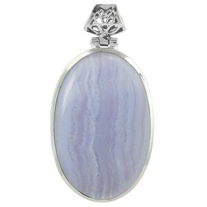 Сребърен медальон със син дантелен ахат