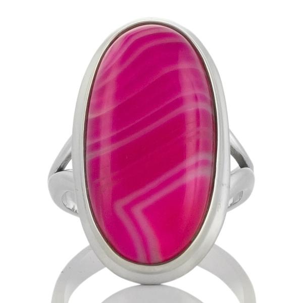 Сребърен пръстен с розов ботсвански ахат