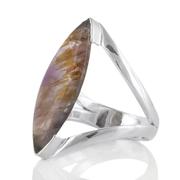 Едър сребърен пръстен с какоксенит