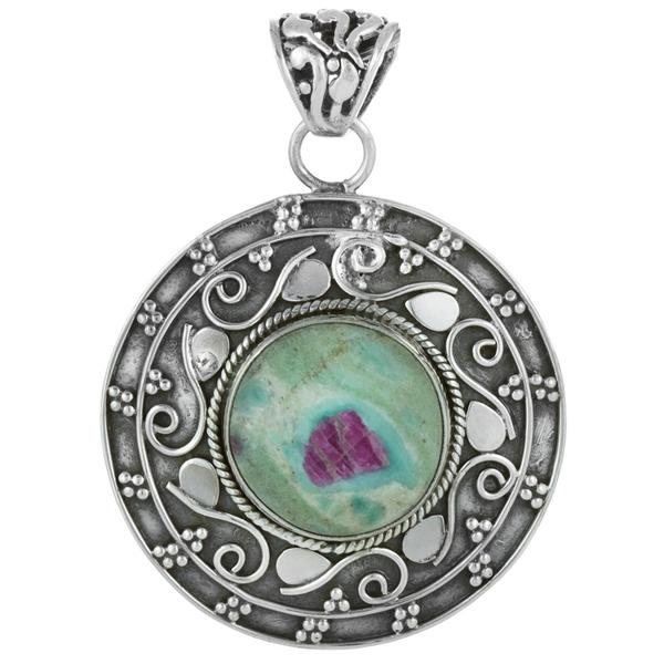 Медальон с рубин във фуксит в сребърен обков
