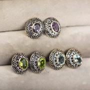 Сребърни обеци с естествени камъни на винт
