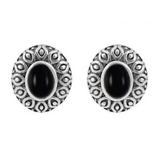 Сребърни обеци с черен оникс в орнаментиран обков на винт