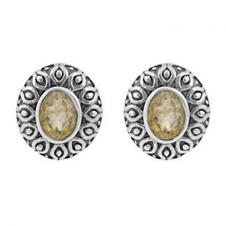 Сребърни обеци с цитрин в орнаментиран обков на винт